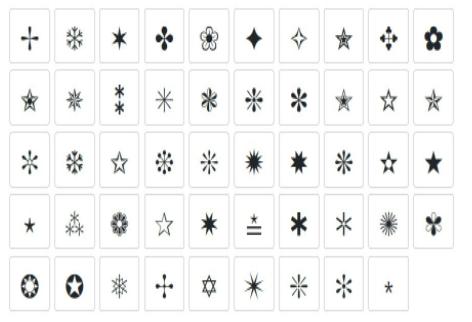 Những kí tự đặc biệt ngôi sao với nhiều hình dáng khác nhau